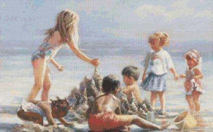 Схема вышивки «Дети на пляже»